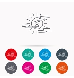 Mist icon fog with sun sign vector