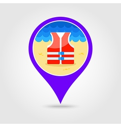 Life jacket pin map icon summer vacation vector