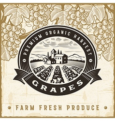 Vintage grapes harvest label vector