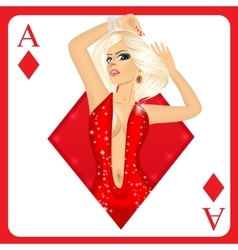 Blonde woman representing ace of diamonds card vector