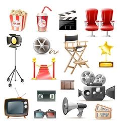 Cinema movie retro icons collection vector