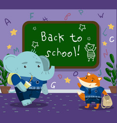 Cute funny animal students in the calssroom back vector