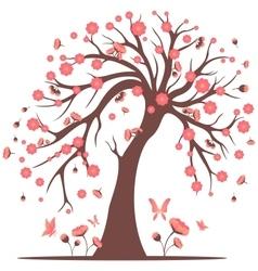 Decorative beautiful cherry blossom tree vector image vector image
