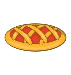 Delicious cherry pie icon cartoon style vector
