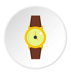 Gold wristwatch icon circle vector