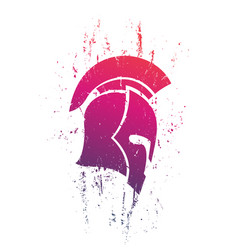 grunge spartan helmet in profile on white vector image vector image