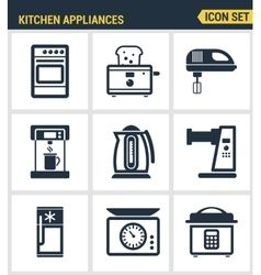 Icons set premium quality of kitchen utensils vector image