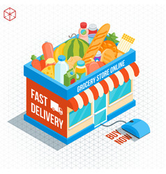 Isometric shop building vector