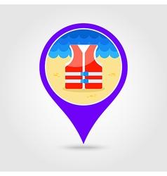 Life jacket pin map icon summer vacation vector