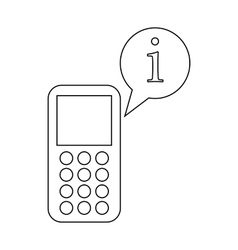 Mobile phone and speach bubble with i letter icon vector