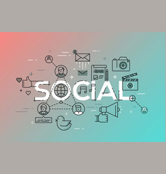 modern concept of word social vector image vector image