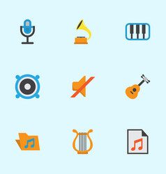Multimedia flat icons set collection of shellac vector