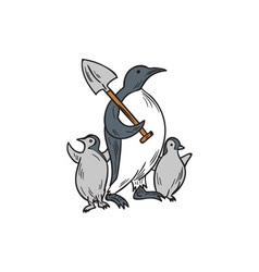 Penguin holding shovel with chicks drawing vector