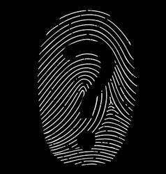 question mark on a fingerprint vector image vector image