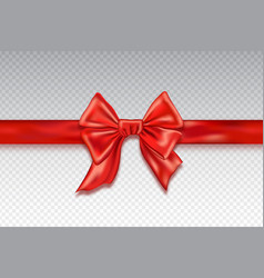 realistic red satin bows isolated on checkered vector image vector image