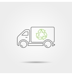 Recycle truck line icon vector
