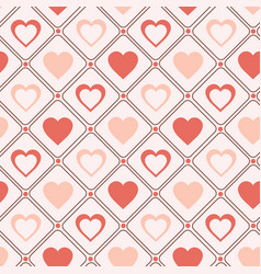 retro seamless pattern pastel hearts romantic vector image vector image