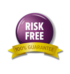 Round violet button with words risk free vector