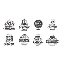 School education set icons beautiful vector