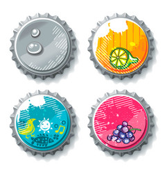 Set of grunge metallic bottle caps vector