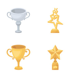 Silver cup for the second place gold stars on the vector