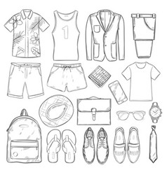 Sketch summer vacation male elements set vector
