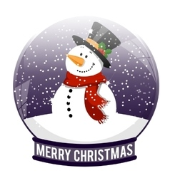 snow ball with snowman vector image vector image