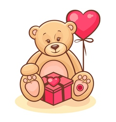 teddy and gift vector image vector image