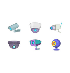 video security icon set cartoon style vector image
