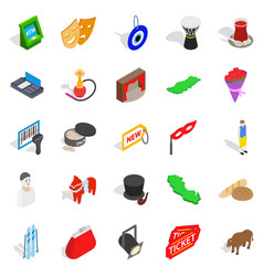 western culture icons set isometric style vector image vector image