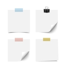 White sticky note paper sheets vector image vector image