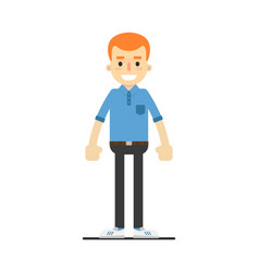 Young happy redheaded guy character vector