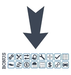 Arrow down flat icon with bonus vector