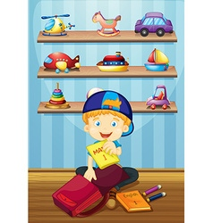 Boy packing bag in room vector