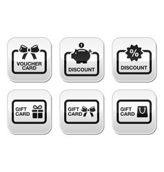 Voucher gift discount card buttons set vector