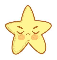 kawaii angry star with close eyes vector image