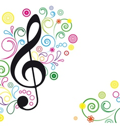 Music floral background vector