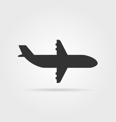 black airplane icon side view with shadow vector image