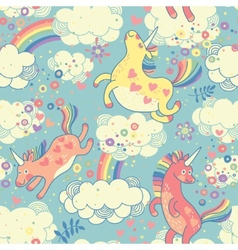 Cute seamless pattern with rainbow unicorns vector
