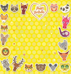 Funny animals happy birthday yellow polka dot vector