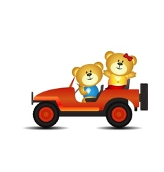 Bears on a car vector
