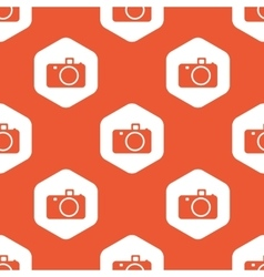 Orange hexagon camera pattern vector