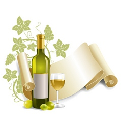 bottle and goblet of wine vector image