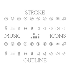Music outline and stroke icons set simple thin vector