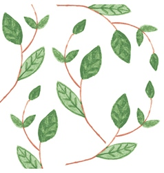 Pattern with watercolor green leaves vector