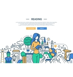 Reading - line design website banner vector