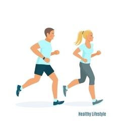 Running man and woman vector image