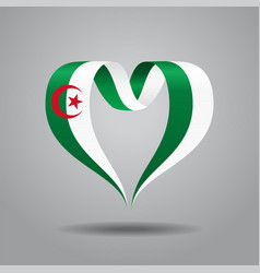 algerian flag heart-shaped ribbon vector image vector image
