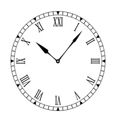 black and white clock face vector image