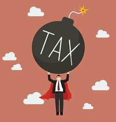 Businessman superhero carry tax bomb vector image vector image